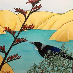 Feasting Tui - by New Zealand Artist - Robyn Hall