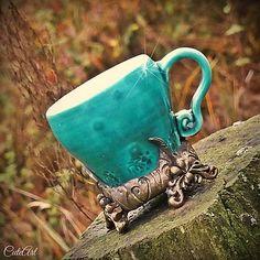 Vzácna bytosť  Victorian coffee cup .... #coffee #cup #mug #turquoise #brown #copper #polymerclay #ceramic