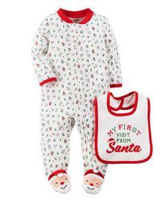 2-Piece Christmas Sleep & Play & Teething Bib Set