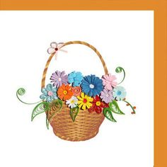 Flower Basket Paper quilled greeting card