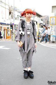 Pink Twin Buns Hairstyle, Kinji Gingham & Tokyo Bopper in Harajuku Kinji Harajuku Ririan – Tokyo Fashion News