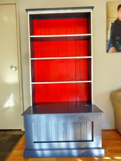 Red, Navy and White bookshelf renovation for the little superhero in my life! Navy Bedrooms, White Bookshelves, Navy And White, Bedroom Decor, Hearts, Money, Superhero, Red, Life