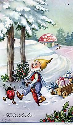 Gnome Elf Dancer Ladybird Mushroom Clover Holly Christmas | eBay