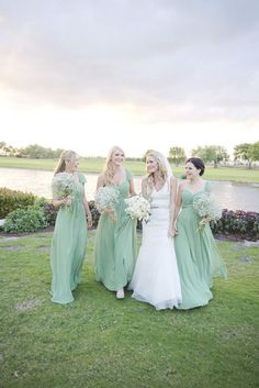 Pale green bridesmaids