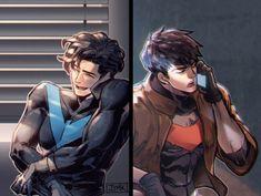 Nightwing and Red Hood Nightwing, Batgirl, Batman Y Superman, Batman Robin, Batman Fan Art, Batman Arkham, Tim Drake, Robins, Red Hood Jason Todd