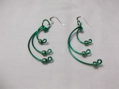 Green Wire and Bead Crescent Shaped Earrings by SingOn on Etsy, $8.00