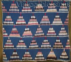 """c 1880 Sugar Loaf (pyramid) quilt); 67"""" x 76""""; hand quilted at 5-6 spi in diamond grid, binding replaced with 19th century muslin binding, medium cotton batting; 4.11 lbs; ebay seller vintageblessings, listed in Jan. 2016"""