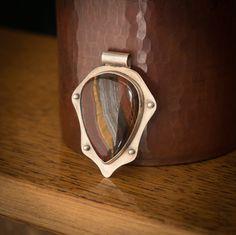 Sterling Silver Tiger Iron Shield Pendant by JensSilverworks
