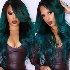 25 Balayage Hair Color Ideas for Black Hair in 2019 Balayage is a French word signifying 'to clear' or 'to paint'. It takes into account a sun-kissed characteristic looking hair shading like what natur. Balage - May 25 2019 at Ombre Hair Color, Hair Color Balayage, Hair Color For Black Hair, Blue Hair, Black Wig, Dark Teal Hair, Hair Colour, Dark Blonde, Curly Wigs