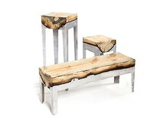 Israeli product designer Hilla Shamia has created furniture combining cast aluminium and wood: an amazing amalgamation of beautiful elements to create functional pieces of furniture. The process delivers finishes and details that simply can't be replicated.