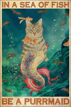 Mermaid Poster, Mermaid Art, Cool Cats, I Love Cats, Crazy Cat Lady, Crazy Cats, Cat Posters, Film Posters, Dibujos Cute
