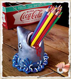 Fimo shark mouth container - pencils