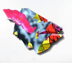 These works by Nick Flatt and Paul Punk are spray paint and acrylic on either coated mdf or polystyrene panels.