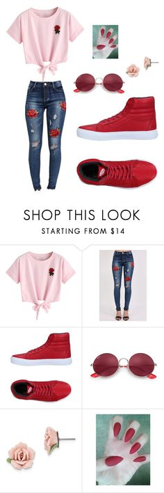 """Rocker red"" by howlingtrends ❤ liked on Polyvore featuring WithChic, Pilot, Vans, Ray-Ban and 1928"