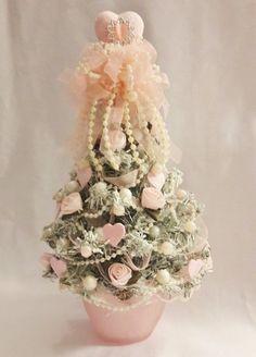 "Miniature Shabby Valentine Tree~Pink & Cream~Hearts~Roses~Pearls~10"" Victorian"