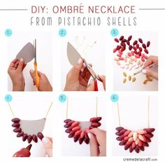 DIY ombre necklace from pistachio shells, so creative! Do It Yourself Jewelry, Do It Yourself Fashion, Diy Ombre Necklace, Button Necklace, Ribbon Necklace, Triangle Necklace, Pearl Necklaces, Necklace Ideas, Handmade Jewelry