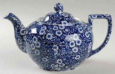 Staffordshire CALICO BLUE (BURLEIGH STAMP) Tea Pot 693622 #Staffordshire