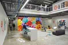 HighTower Ruby Table @ Facebook #office #facebook #table #mural