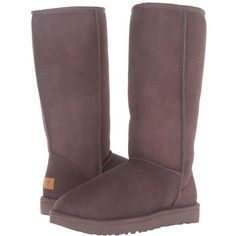 UGG Classic Tall II (Chocolate) Women's Boots ($200) ❤ liked on Polyvore featuring shoes, boots, mid-calf boots, tall fur boots, fur boots, low heel boots, fur lined shoes and short high heel boots