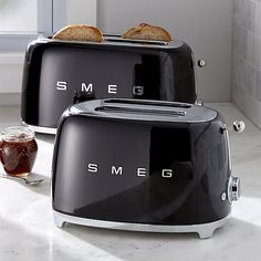 Smeg Black Retro Toasters | Crate and Barrel