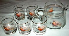 Vintage Pheasant Hi Ball Cocktail Glass Glasses Pitcher Bar Set