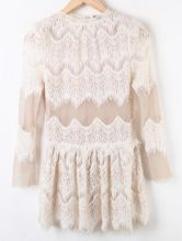 Apricot Lace Hollow Pleated Mid Waist Chiffon Dress 0.00