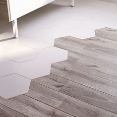 Floor and wall tiles white 258 x 29 cm Kanya CASTORAMA Carrelage sol et mur blanc 258 x 29 cm Ka Tile To Wood Transition, Transition Flooring, Floor Design, Tile Design, House Design, Wooden Flooring, Kitchen Flooring, Tile Wood, Home Renovation