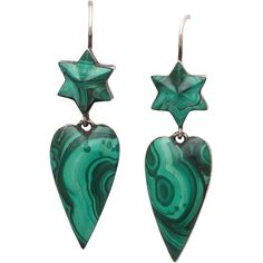 Love is Green: Victorian Scottish Malachite Heart Earrings