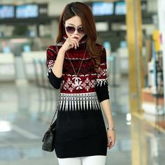 2015 New autumn winter turtleneck sweater women warm loose long sweater dress printing jumpers Free Shipping