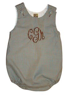 Monogrammed Baby Boy Bubble Suit