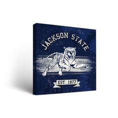 "Victory Tailgate NCAA Banner Version Framed Graphic Art on Wrapped Canvas NCAA Team: Jackson State Tigers, Size: 12"" H x 12"" W x 1.5"" D"