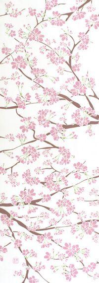 手ぬぐい「桜の花」 Japanese Textiles, Japanese Patterns, Japanese Fabric, Japanese Design, Japanese Art, Japanese Painting, Floral Illustrations, Typography Prints, Cherry Blossom