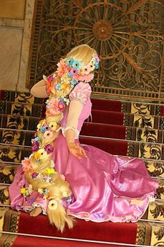 Great idea for hair for Rapunzel halloween costume
