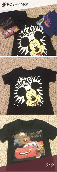 3 shirt collection All three shirts. One great price. Mickey and cars are both 4t. Buzz is a 4/5. In good condition. No rips or stains. Disney Shirts & Tops Tees - Short Sleeve