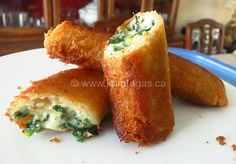Spinach and Feta Flutes Made With Sliced Bread