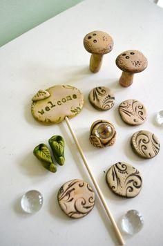 Fairy Garden Accessories: Cinnamon Swirl 7 items. Welcome sign