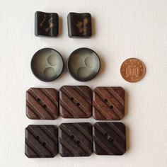 10 Assorted Large Wooden Buttons  Geometric by GrannieBunting, £5.00