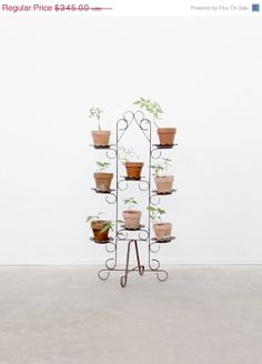 Vintage Plant Stand / Black Iron Garden Stand by 86home on Etsy, $293.25