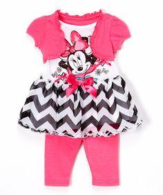 Look at this #zulilyfind! Pink Minnie Mouse Tunic & Leggings - Toddler & Girls #zulilyfinds
