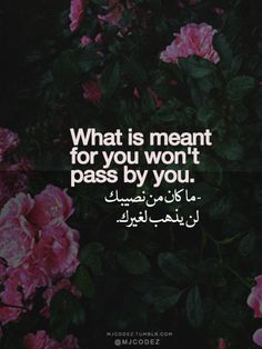 what is meant for you won't pass by you. Allah u akbar