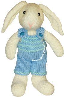 overol o pantalón del conejo tejido en dos agujas o palillos