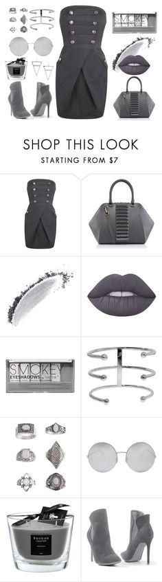 """Shades of Grey"" by contessanoctis ❤ liked on Polyvore featuring Kristina George, NARS Cosmetics, Lime Crime, Boohoo, Jennifer Fisher, Topshop, Victoria Beckham, Baobab Collection, Venus and H&M"
