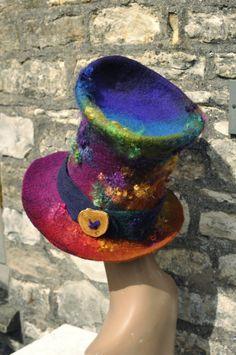 Hand felted wool Top Hat- 'Mad Rainbow Hatter' - hand dyed wool handmade felt - purple pink red gold green multicolor - CUSTOM ORDER ARtWeAR