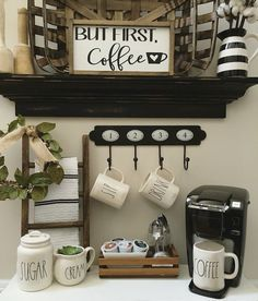 Coffee Bar Ideas - Looking for some coffee bar ideas? Here you'll find home coffee bar, DIY coffee bar, and kitchen coffee station. Coffee Area, Coffee Nook, Coffee Bar Home, Home Coffee Stations, Coffee Chairs, Hot Coffee, Coffee Bar Ideas, Coffee Mornings, Coffee Girl