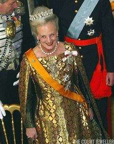 KELD NAVNTOFT/AFP/Getty Images      Queen Margrethe II of Denmark wears diamond and pearl jewels, including the Pearl Poire Tiara, during ...