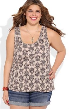 Deb Shops Plus Size Boho Print Tank with Bubble Hem and Necklace $17.25