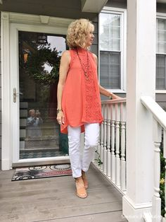 Fashion over 50 Glamour Farms coral top.