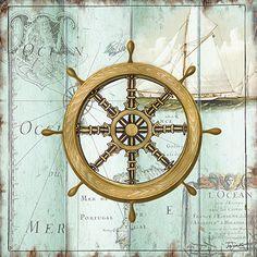 Antique La Mer Viii Canvas Art - Tre Sorelle Studios x Deco Marine, Foto Transfer, Nautical Cards, Old Pillows, Coastal Colors, Am Meer, Pillow Forms, Beach Art, Paper Background