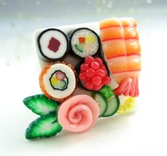 Pretty polymer clay sushi ring-this reminds me of your painting @Rachel Schilz