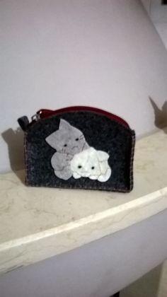 Porta monete in feltro con gattini